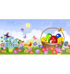 Easter basket on the lawn vector