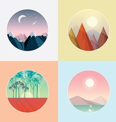 Set of smooth polygonal landscape designs vector