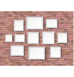 Blank picture frame red bricks vector