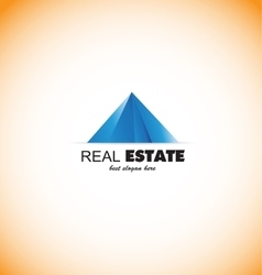 Real estate pyramid blue logo icon vector