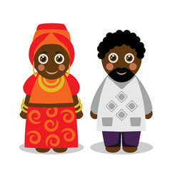 African man and woman in national clothes vector