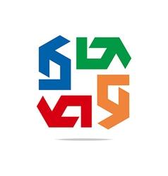 arrow symbol hexa connecting icon el vector image vector image