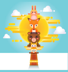 Cute Animal Totem vector image