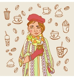 Cute little girl with coffee Coffee time A cup vector image vector image