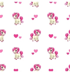 Cute seamless pattern with little cartoon pony vector