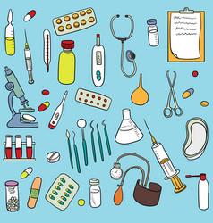 Doodle set of medical equipment vector