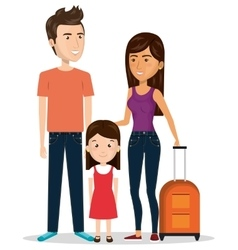 family travel with suitcases vector image