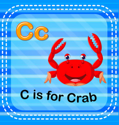 Flashcard letter c is for crab vector