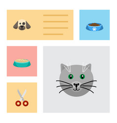 Flat icon pets set of shears puppy kitty and vector