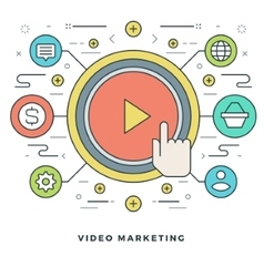 Flat line business concept video marketing vector