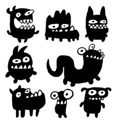 Funny black flat monsters vector