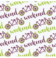 Hand drawn seamless pattern with bikes and vector