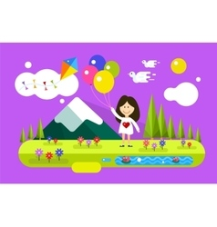 Happy girl with ballons on summer background vector