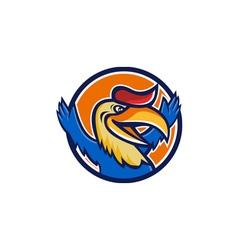 Hornbill open arms circle cartoon vector