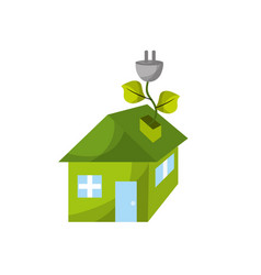 house with power cable with leaves to reduce vector image vector image