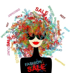 I love sale fashion woman with shopping concept vector