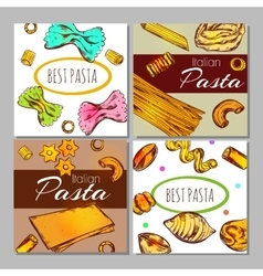 Italian pasta label set vector