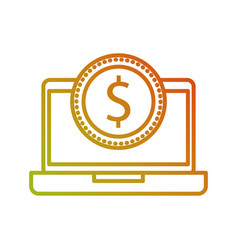 laptop with a dollar coin money ecommerce vector image