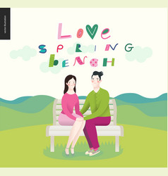 Love spring bench - a couple in love vector
