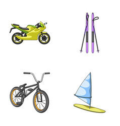 Motorcycle mountain skiing biking surfing with vector