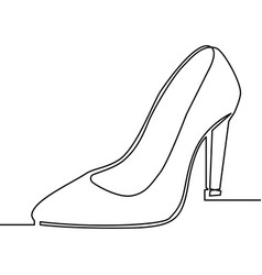 one line drawing of women high heel shoe vector image vector image