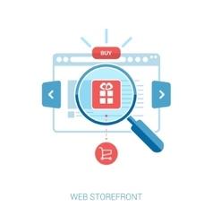 Online storefront add to bag web shop internet vector