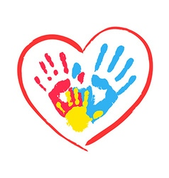 Parents and kids hands in a heart vector image