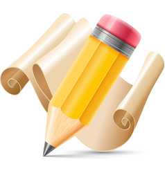 Pencil and scroll paper vector