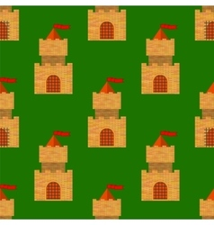 Red Brick Castle Seamless Pattern on Green vector image