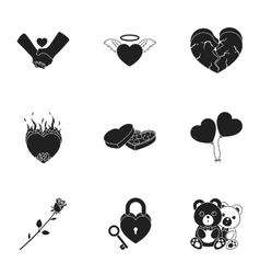 Romantic set icons in black style Big collection vector image