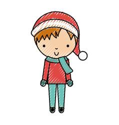 Scribble christmas little boy vector