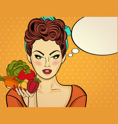sexy pop art woman with vegetables in his hand vector image vector image