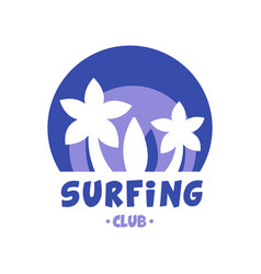 Surfing club logo surf retro badge in blue color vector