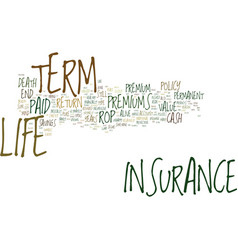 Term life insurance with no exam text background vector