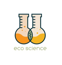 two test tubes with leaf eco science design vector image