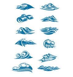 waves icons of ocen water wave blue splash vector image vector image