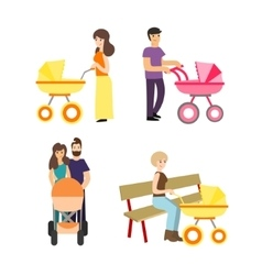 Cartoon cute stroller parents set vector