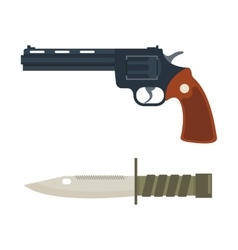 Handgun and knife icon vector