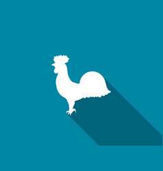 rooster icon with a long shadow vector image