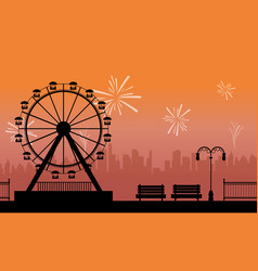 Silhouette amusement park with firework scenery vector