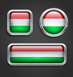 Hungary flag glass buttons vector