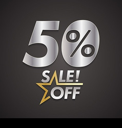 Fifty percent sale off with star vector