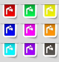 Drinking fountain icon sign set of multicolored vector