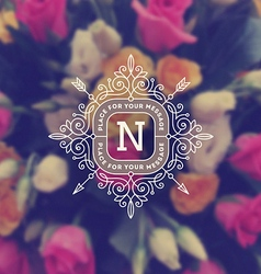 Monogram logo on flowers background vector