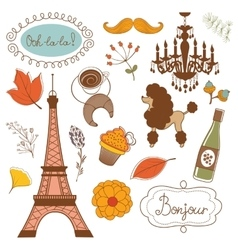 Autumn in paris elegant set with eiffel tower vector