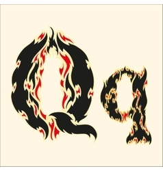 Fiery font letter q on white vector