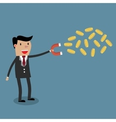 Businessman with magnet and gold coinor vector