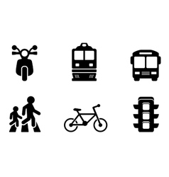 transport icons collections vector image
