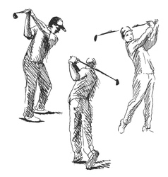 Set sketch golfer vector