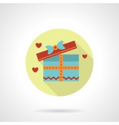 Gift for a lover icon flat round style vector image